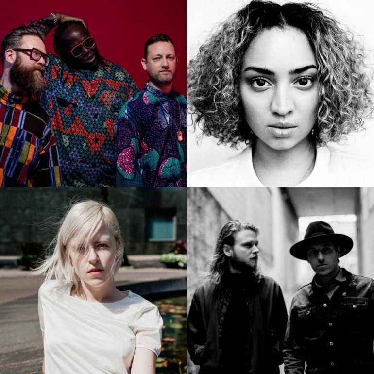 Clockwise, starting from top left: The Invisible, Naomi Pilgrim, Palace Winter, Amber Arcades