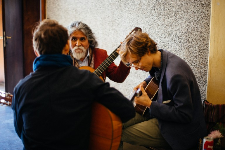 Just Manuelcha Prado, Bryce Dessner and Erlend Øye working on music together (Photo by Ramin Krause)