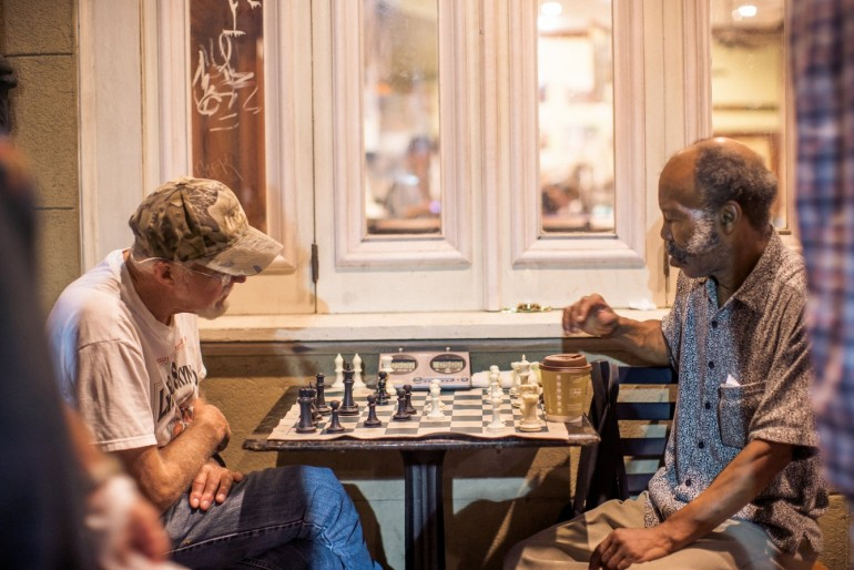 Chess players in New Orleans (Photo by Jim Kroft)